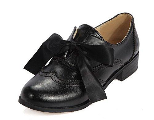 VogueZone009 Femme Pu Cuir Couleur Unie Lacet Rond à Talon Bas Chaussures Légeres Noir