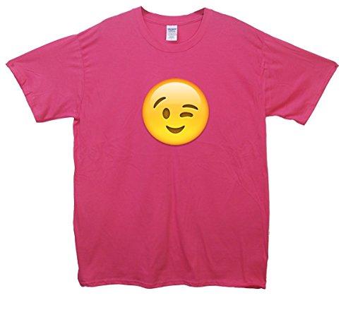 Winking Face Emoji T-Shirt Rosa