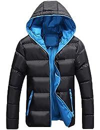 aef4e7236f6d Runyue Cappotto Piumino da Uomo Invernale Outdoor Leggero Giacca con  Cappuccio Jacket Nero Blu 2XL