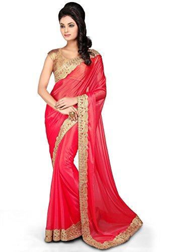 Utsav Fashion Women's Embroidered Border Lycra Shimmer Saree in Fuchsia