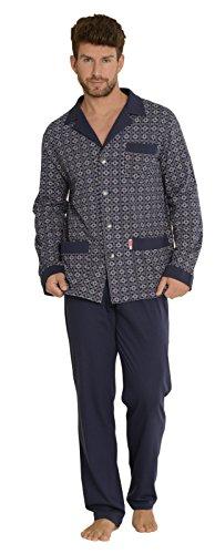 FOREX Lingerie edler Herren-Pyjama aus 100% Baumwolle Schlafanzug Hausanzug im tollen Design, marine gemustert, Gr. L (Sommer-pyjama)
