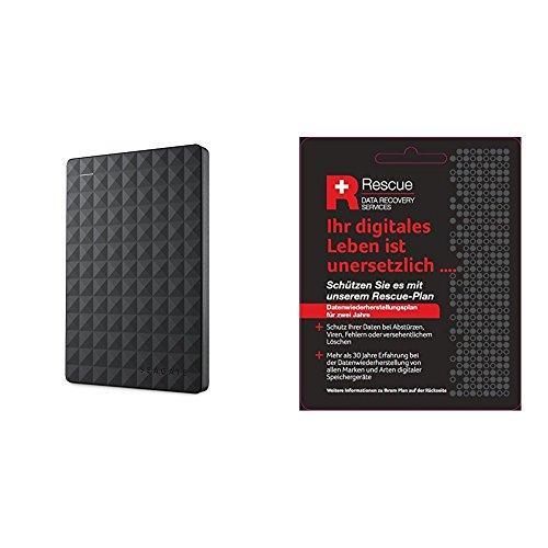 Seagate STEA2000400 Expansion Portable externe tragbare Festplatte + STZZ794 Produktkarte mit Code zur Registrierung, 2 TB, schwarz