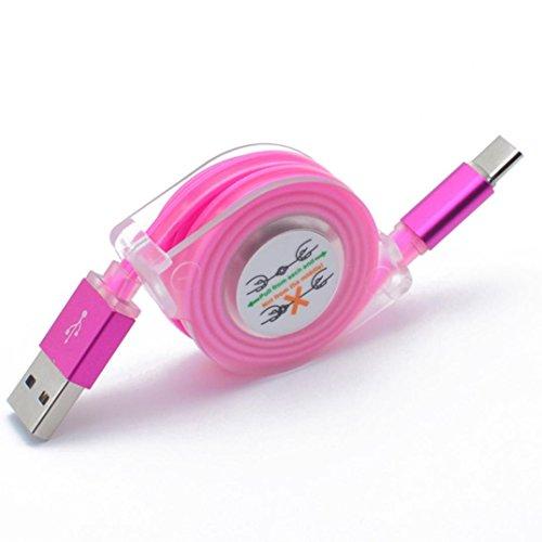 CICIYONER USB C Typ-C Ladegerät Datum Kabel Ladekabel für Samsung Galaxy S8 / Note 8 LED-Licht (Pink)