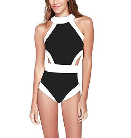 Arrowhunt Damen Mädchen Weiß- Schwarz Sportart Bikini Set/ Badeanzug/ Bademode (Label S/ DE 32, Schwarz)