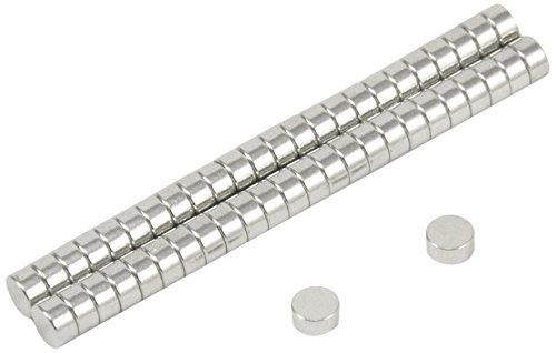 First4magnets F042-N35-50 4mm Durchmesser x 2mm dicken N35 Neodym-Magneten - 0,38 kg ziehen (Packung mit 50), silver, 25 x 10 x 3 cm, Stück