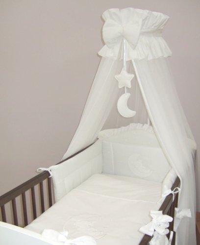 Kinderbett-set Weiße Baby-bettwäsche (11-teiliges bestickt Baby Himmel Bettwäsche Set für (für Kinderbett 120x 60cm) Moon–Weiß)