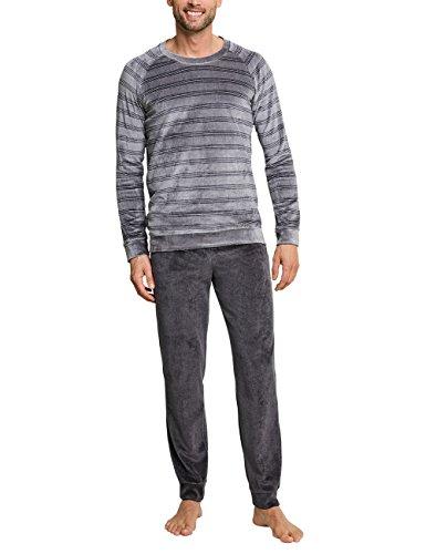 Schiesser Herren Anzug lang mit Bündchen Zweiteiliger Schlafanzug, Grau 200, X-Large (Herstellergröße: 054)