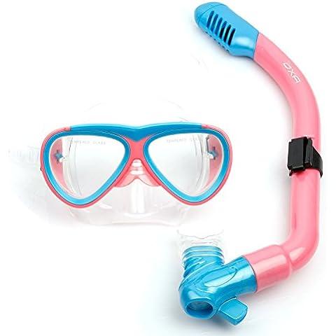 OXA Niño Buceo submarino Set de Snorkel incluye tubo respirador, gafas de cristal templado (Rosa)