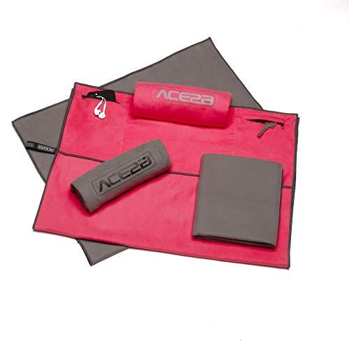 ACE2B Fitness Sport Handtuch Mikrofaser - schnelltrocknend, platzsparend, leicht / 2 Taschen mit Überzug für Gerätetraining, Fitnessstudio, Gym / 120x55cm XL groß (grau)