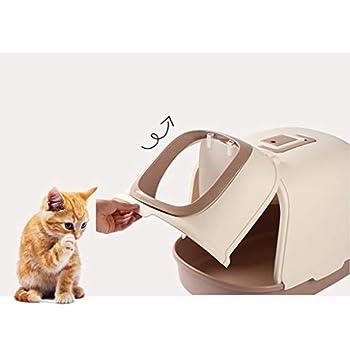 Wcx Rotin Toilette Chat,Fermé Chats Loo Animal Compagnie Nettoyer Encapuchonné Provisions WC pour Animaux Compagnie 50x42x42CM (Couleur : Pink)