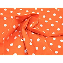 114,3 cm extra anchos para hombre lunares polialgodón tela naranja/lunares blancos - por metro