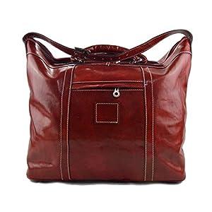 Herren ledertasche reisetasche umhangetasche mit griffe schultertasche sporttasche seesack leder rot