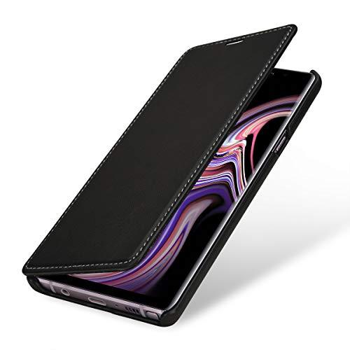 StilGut Book Type Lederhülle für Samsung Galaxy Note 9. Seitlich klappbares Flip-Case aus Echtleder, Schwarz Nappa