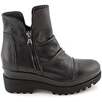 Stivaletti donna bassi neri pelle zeppa alta scarpe suola fondo