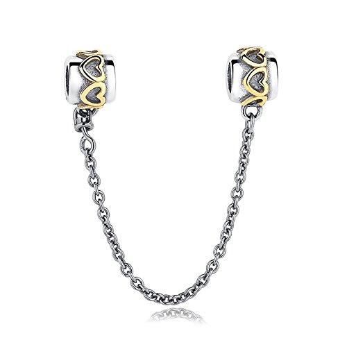 Everbling Bead Love Anschluss Sicherheit CHAIN925Sterlingsilber passend für Pandora Charme Armband (Pandora Armband Sicherheits-charme)