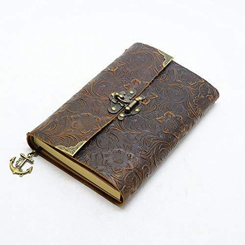 ScrodCat - Cuaderno de escritura de piel de cornal, cuaderno de notas para hombre y mujer, papel en blanco, tamaño mediano, 19 x 14 cm, regalo perfecto, diario de viaje y libro de bloqueo (marrón)