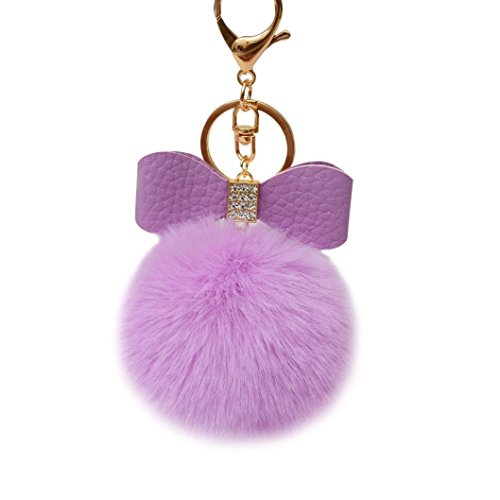 Keychain Key Ring Pendant,Sainagce 1 Pcs Elegant Bowknot Fluffy Plush Faux Fur Pom Pom Key Pendant Key Chain Key Ring Keychain Keyring for Car Handbag Bag Accessories Small Gift (Purple)