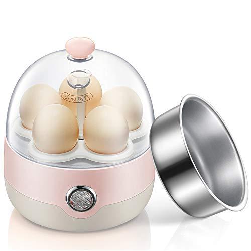 NNDQ Eierkocher, elektrischer Eierkocher, intelligente EIN-Knopf-Funktion, automatische Abschaltung, Kapazität von 5 Eiern für hart oder weich gekochte Eier - Rosa - Reis Topf Maker