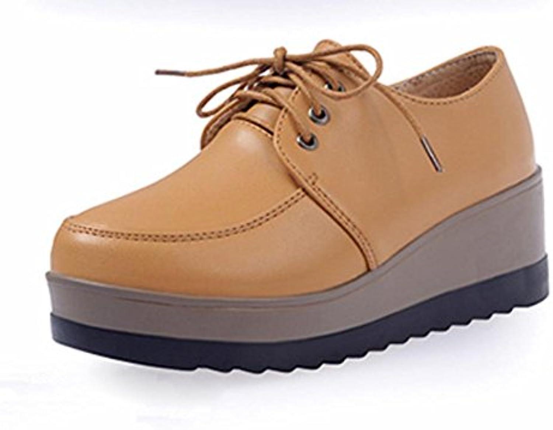 Mme Spring chaussures d'ascenseur Chaussures de plate-forme de de de pente croûte épaisse avec des chaussures de chaussures...B07417M3KDParent f0bcb2