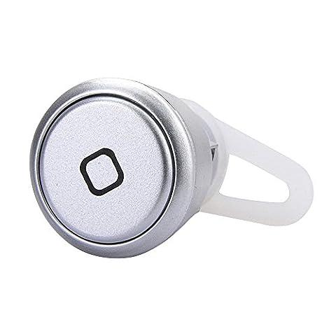 Cuitan Universel Mini Sans-fil Bluetooth 3.0 Casque In-ear Mono Appel Écouteur Suppression du bruit Earbud Oreillette Headset Headphone Earphone pour iPhone, iPad, Samsung, Xiaomi, Sony, HTC, Nokia, Autre Bluetooth Smart Phones et Tablets avec Câble de Recharge USB et Earhook - Argent