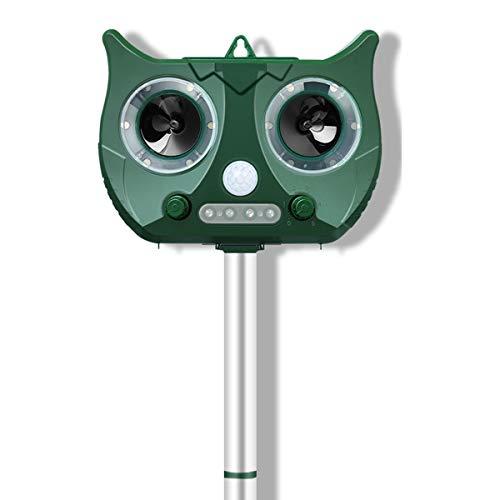MOHOO Katzenschreck Ultraschall Solar, Wetterfest Utraschall Abwehr mit eingebauter Lithiumbatterie und Blitzlicht 5 Modus Einstellbar Tiervertreiber für katzenschreck, hunde, Schädlinge, marderabwehr