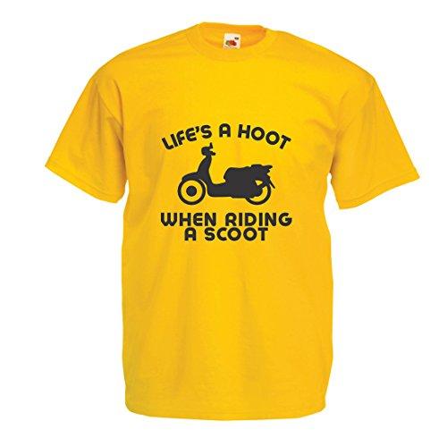 hirt Das Leben ist ein Lachen beim Fahren Eines Rollers, Humor Slogans, Sprüche, Inspirierende Zitate (Medium Gelb Mehrfarben) (Lego Halloween-messe)