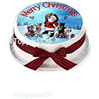 Merry Christmas 1 x 7.5 (19 cm) redondo essbarer Fondant tarta – Fregadero.