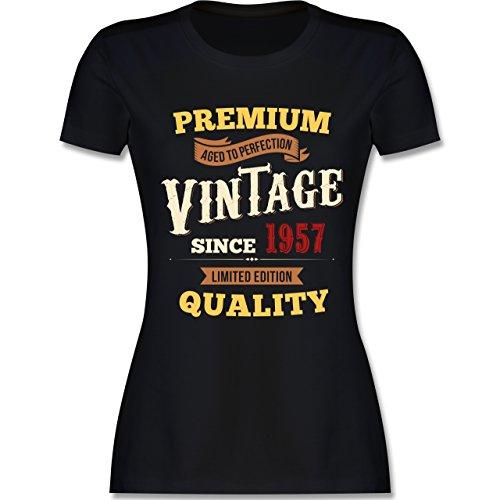 Geburtstag - 60. Geburtstag Vintage 1957 - tailliertes Premium T-Shirt mit Rundhalsausschnitt für Damen Schwarz