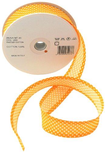 Inastri - Cinta bies de algodón, 25/5/ 5 mm, color dorado maravilla con lunares blancos 263