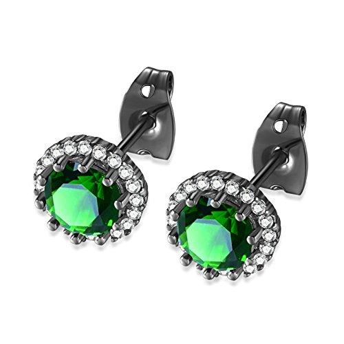 KnSam Gold Plated Earrings for Women Stud Earrings Mosaic Zircon Black Green