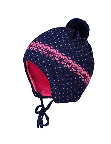 maximo Baby-Mädchen mit Pünktenmuster und Minipompon und Bindeband Mütze, Mehrfarbig (Navy/Pinkmeliert 4885), (Herstellergröße: 43)