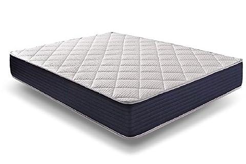 Naturalex - Matelas Royalvisco 140 x 200 cm Blue Latex® + Thermosoft® mousse à mémoire très haute densité + literie 7 zones de confort 25 cm