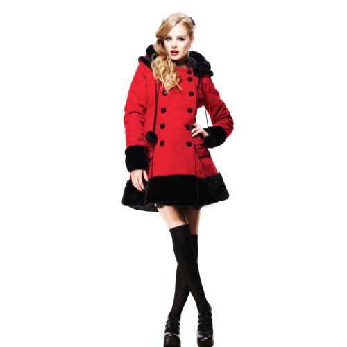 Hell Bunny breve cappotto SARAH JANE COAT Red-black rosso/nero 42/44