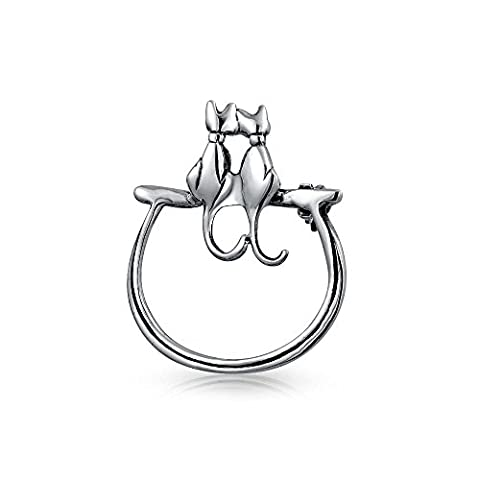 Bling Jewelry Two Sitting Cats Silhouette Brooch Animal Pin Sterling Silver