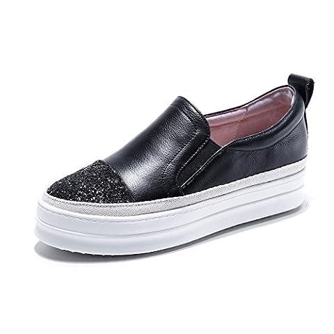 RoseG Femme Espadrilles Cuir Sneakers Baskets Mode Désinvolte Chaussures Noir39