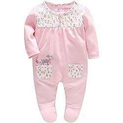 Bambino Ragazze Pagliaccetto in Cotone Pigiama Jumpsuit Principessa Tutina Outfits, 3-6 Mesi