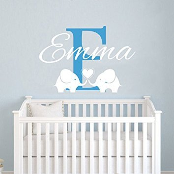 Cute Love elefantes personalizado nombre pared pegatinas para niños habitaciones