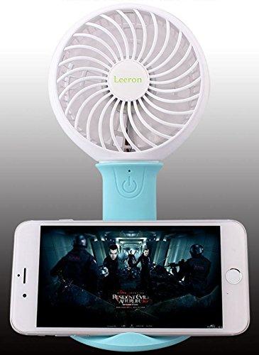 Preisvergleich Produktbild USB Nachladbarer tragbarer Handventilator Tischventilator mit Handy-Halter und Beleuchtung (Blau)