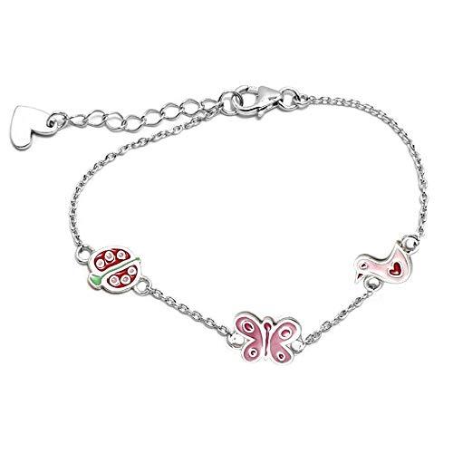 Silber-Armband Gesetz Agatha Ruiz De La Prada 14.5cm. Grüne Ente Marienkäfer-Schmetterlings-Sammlung