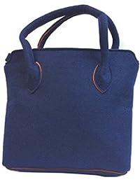 DIETZ Henkeltasche Filz mit Kontrastnaht dunkelblau Filztasche 34x28x9cm