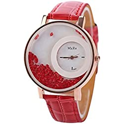 WINWINTOM Leather Quicksand Rhinestone Quartz Bracelet Wrist Watch Red