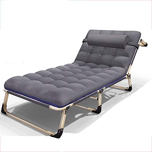 JB-deckchair Klappbett Mit Kissen Verbreitert Single Lounge Sofa Lounge-Sessel Büro Nickerchen Im Freien Tragbare Campingbett Einfache Begleitbett, Last 150kg (Farbe : Gray, größe : C)
