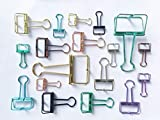 Mr.do Foldback Klammern Vielzweckklammern Büroklammern Binder Clip, 18 Stück in 3 Verschiedenen Größen und 8 Farben mit Acrylbox, Bunter Aushöhler Kohlenstoffstahl mit Beschichtungsprozess