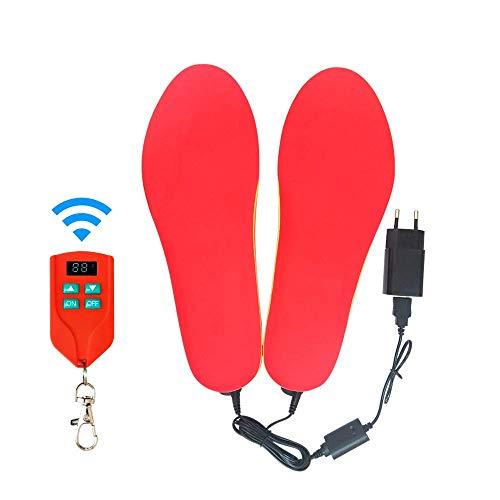 CNMF Beheizbare Einlegesohlen, Fußwärmer Beheizbare Thermosohle Kit mit Fernbedienung Schalter Drahtlose Wiederaufladbare batteriebetriebene Heizung-Rot-42-46
