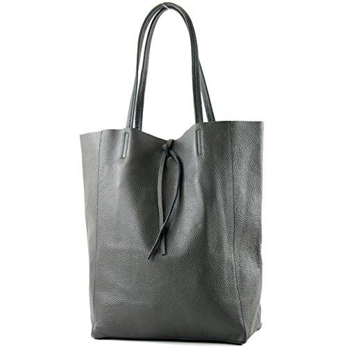 modamoda de - T163 - Ital. Shopper Schultertasche aus Leder, Farbe:Anthrazitgrau - Leder Chic Handtasche