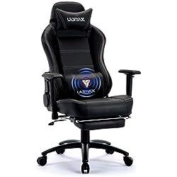 UOMAX Chaise de Gamer Massage Ergonomique Fauteuil Ordinateur Gaming Confortable Chaise Racing Inclinable avec Support Lombaire de Massage et Repose-Pieds