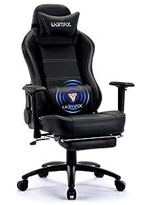 UOMAX Chaise de Gamer Massage Ergonomique Fauteuil Ordinateur Gaming Confortable Chaise Racing Inclinable avec Support Lombaire de Massage et Repose-Pieds.(Noir)