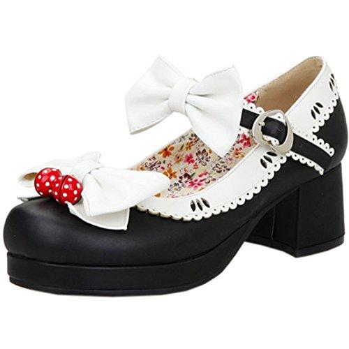 Partiss Damen Gothic Lolita Wedge Shoes Japanisch High-top Casual Lolita Pumps Herbst Fruehling Hochzeit Tanzenball Maskerade Cosplay Diestmaedchen Bowknots Platform Pumps Lolita Schuhen Schwarz