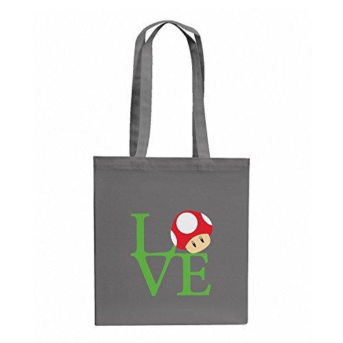 Texlab–Mushroom Love–sacchetto di stoffa Grau