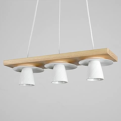 Retro 3 Way Oak Wood Effect Suspension Over Table Dining Room / Kitchen / Cafe / Bar Ceiling Light with White Ceramic Coffee Cup